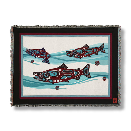 Salmon Run Tapestry Throw Blanket