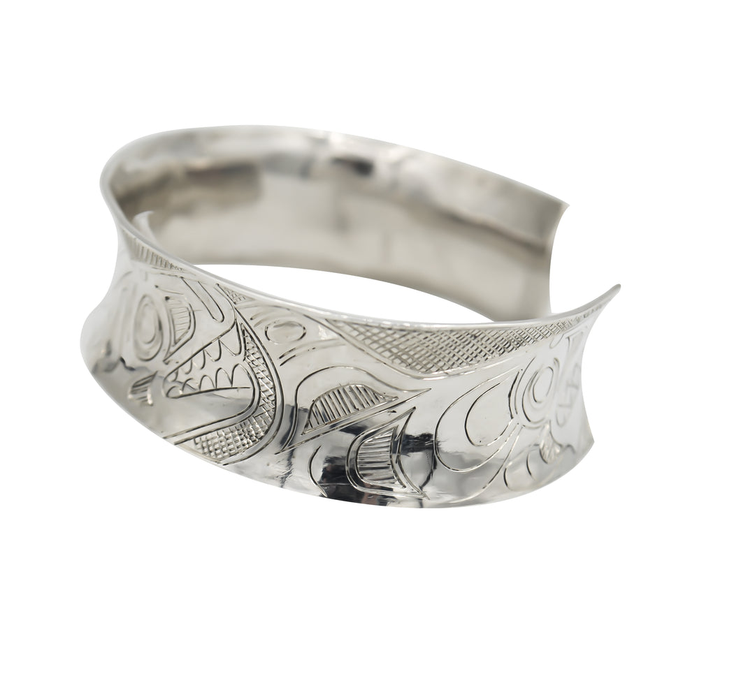 """Spirit of the Killer Whales"" Hand Engraved Sterling Silver Bracelet - The Shotridge Collection"