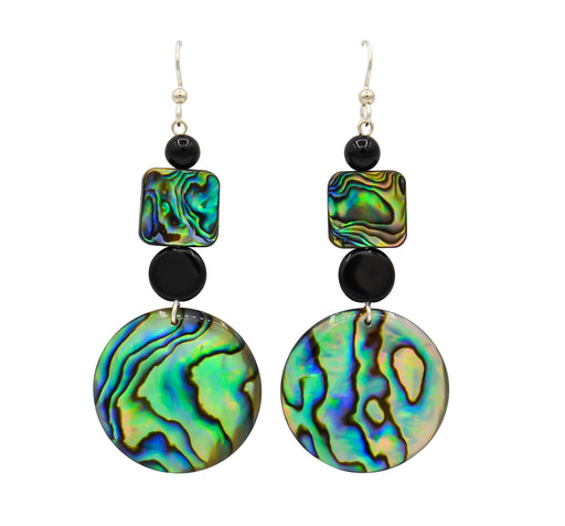 Black Onyx & Abalone Earrings - Shotridge.com
