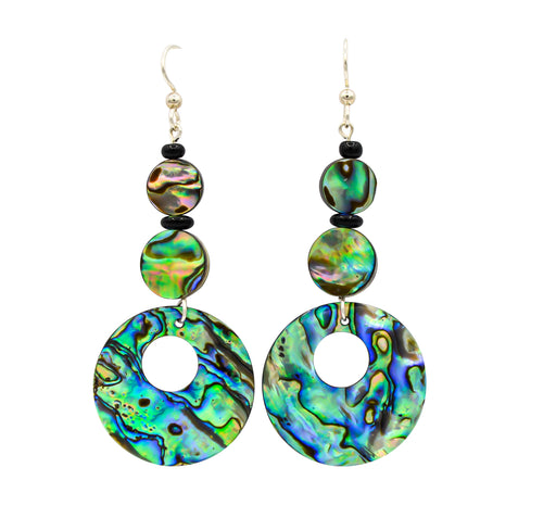 Exquisite Abalone & Black Onyx Dangle Earrings - The Shotridge Collection