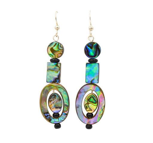 Abalone & Black Onyx Oval Dangle Earrings - Shotridge.com