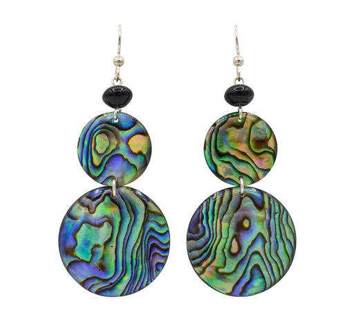Abalone & Black Onyx Earrings - Shotridge.com