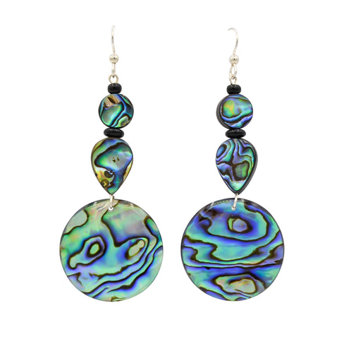 Tear Drop Abalone, Paua Shell, Black Onyx & Sterling Silver Dangle Earrings - The Shotridge Collection
