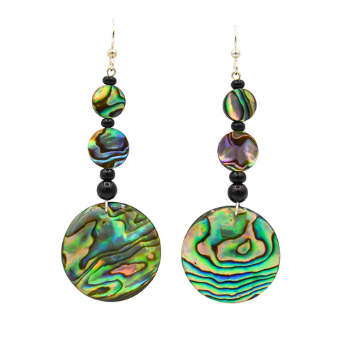 Abalone, Paua Shell & Onyx Dangle Earrings - The Shotridge Collection