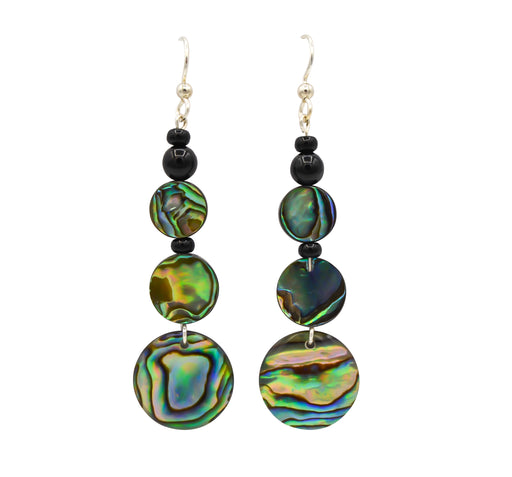Elegant Abalone & Onyx Earrings 8 - The Shotridge Collection