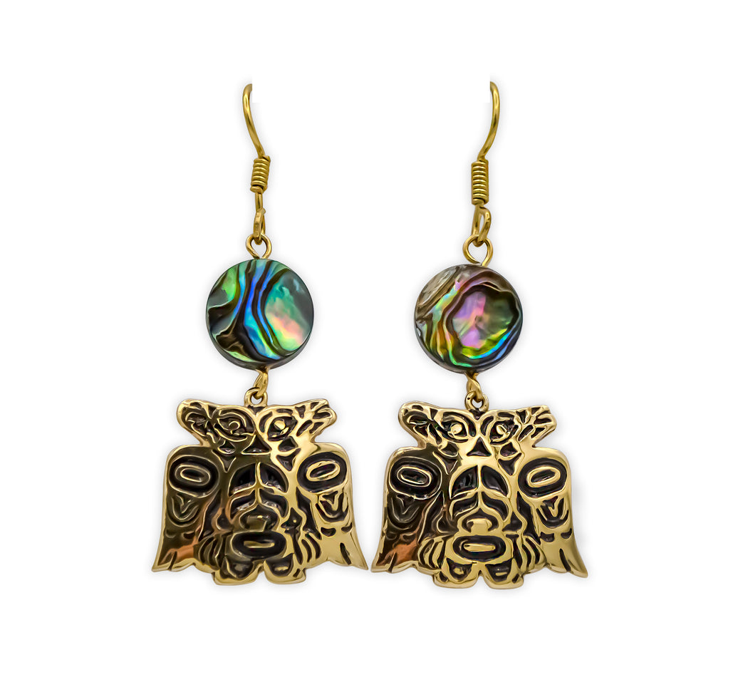 """Lovebirds"" Alchemia Gold & Abalone Dangle Earrings - The Shotridge Collection"