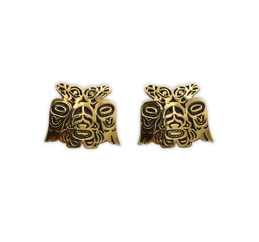 """Lovebirds"" Alchemia Gold Post Earrings - The Shotridge Collection"