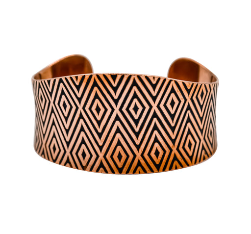 Diamond Design Hand Roller Printed Anticlastic Copper Cuff Bracelet - The Shotridge Collection
