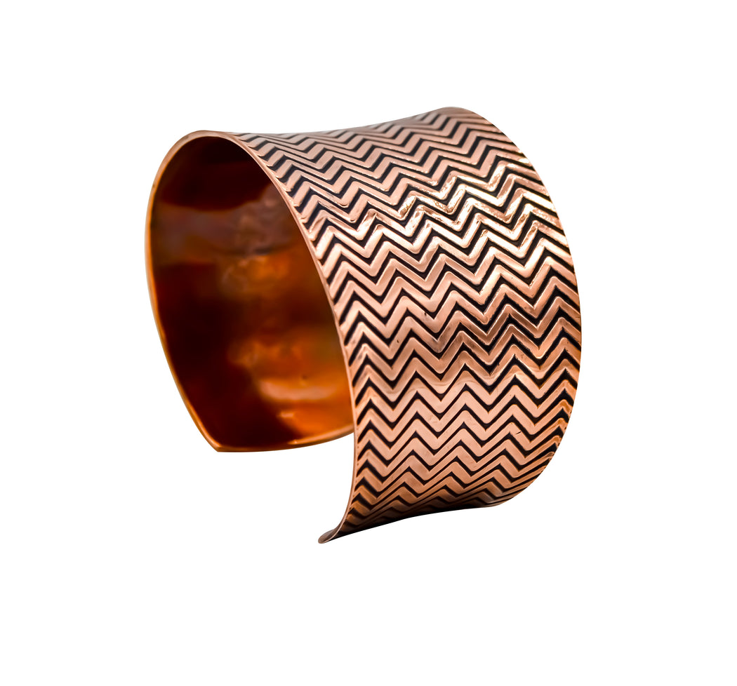 Zig Zag Hand Roller Printed Copper Cuff Bracelet - The Shotridge Collection