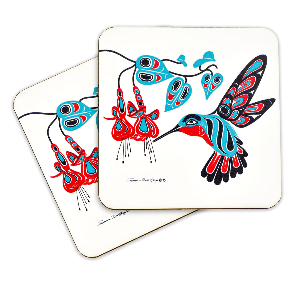 """Hummingbird & Fuchsia"" Wooden Coasters - The Shotridge Collection"