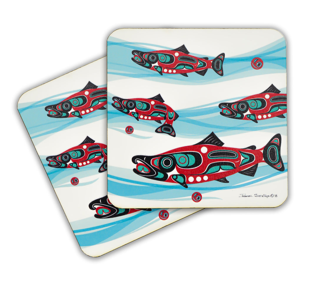 """Salmon Run"" Wooden Coasters - The Shotridge Collection"