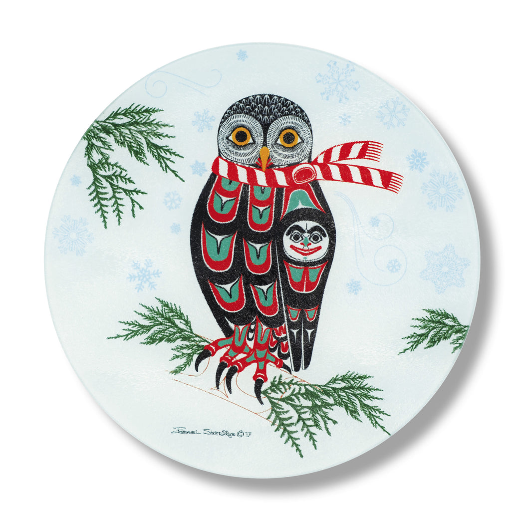"""Holiday Owl"" Glass Cutting Board - The Shotridge Collection"