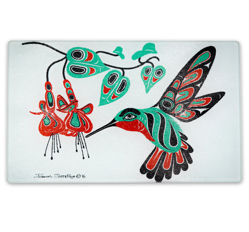 """Hummingbird & Fuchsia"" Glass Cutting Board - The Shotridge Collection"