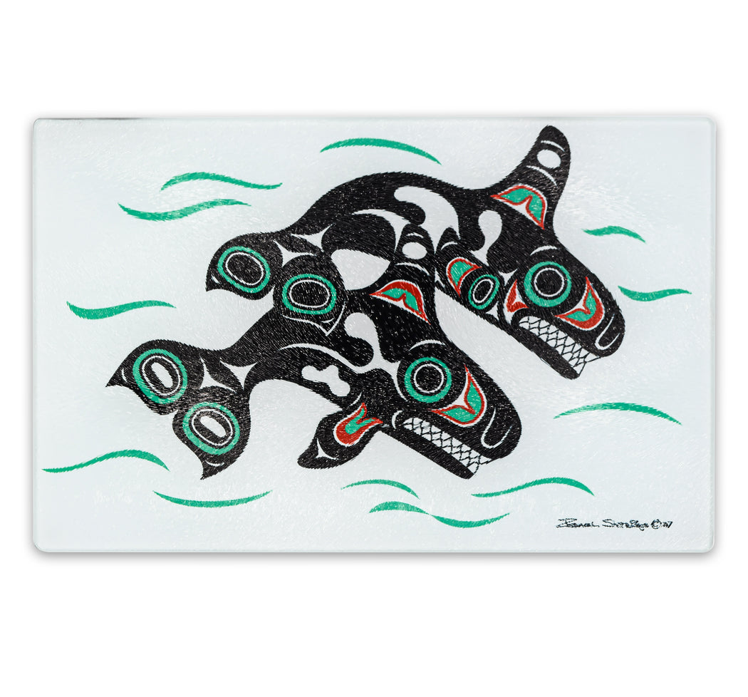 """Orcas"" Glass Cutting Board - The Shotridge Collection"