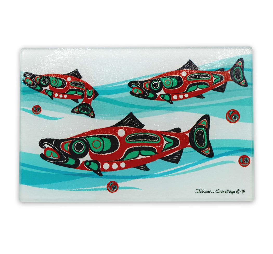 """Salmon Run"" Glass Cutting Board - The Shotridge Collection"