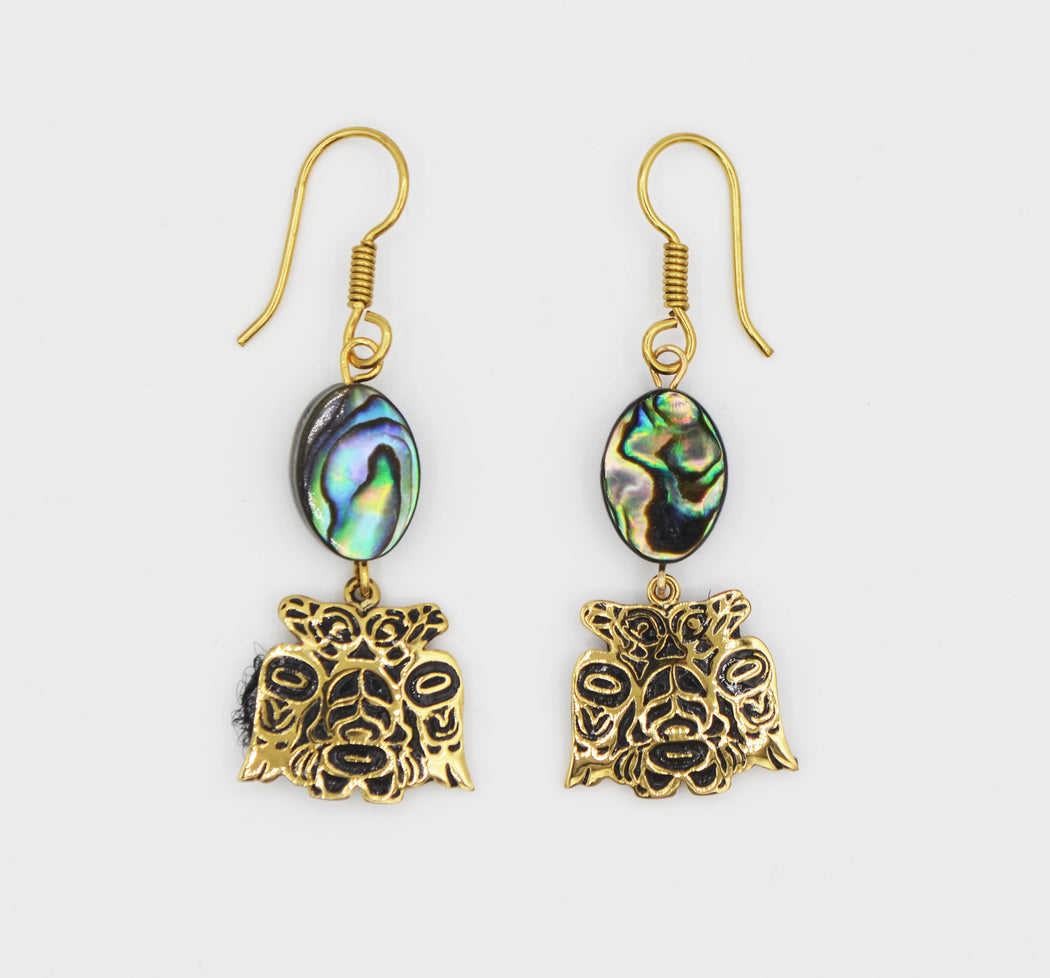"""Lovebirds"" Alchemia Gold & Oval Abalone Dangle Earrings - The Shotridge Collection"