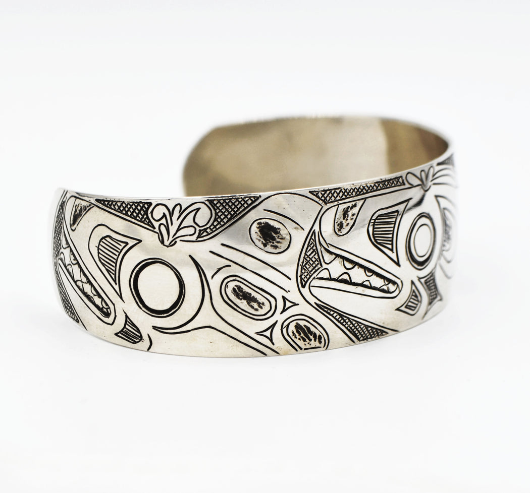 """Orcas in Waves"" Sterling Silver Bracelet - Shotridge.com"