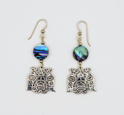 """Lovebirds"" Sterling Silver & Abalone Dangle Earrings - The Shotridge Collection"