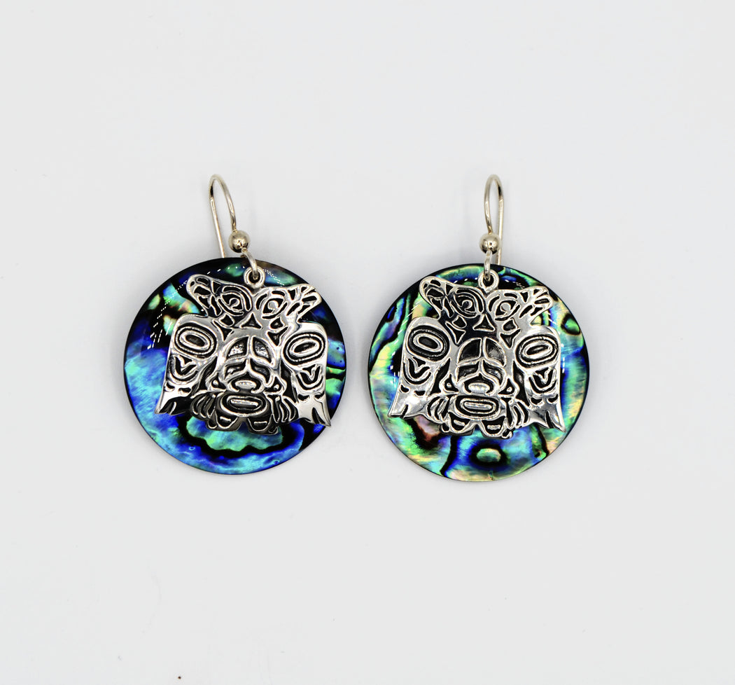 """Lovebirds"" Sterling Silver & Circular Abalone Earrings - The Shotridge Collection"