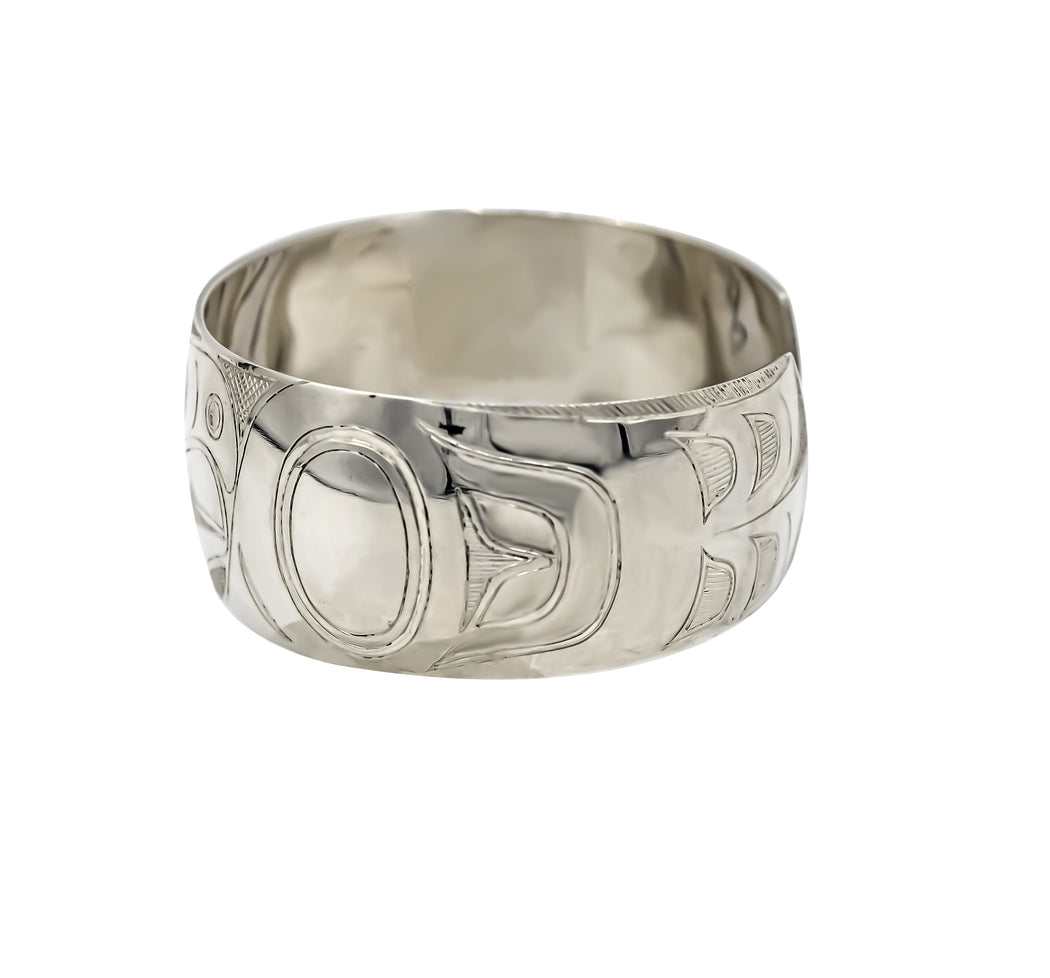 """Eagle"" Hand Engraved Sterling Silver Bracelet - The Shotridge Collection"