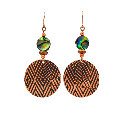 Diamond Hand Roller Printed Copper & Abalone Earrings - The Shotridge Collection