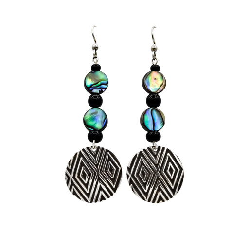 Diamond Hand Roller Printed Sterling Silver, Abalone & Onyx Earrings - The Shotridge Collection