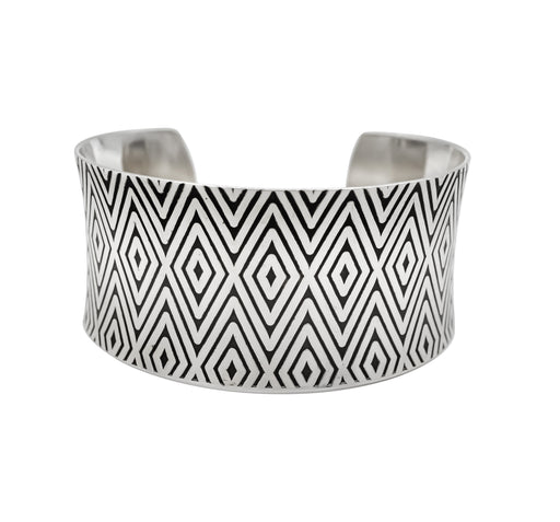 Diamond Hand Roller Printed Sterling Silver Cuff Bracelet - The Shotridge Collection