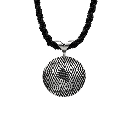 Diamond Hand Roller Printed Sterling Silver Pendant & Black Seed Bead Necklace - The Shotridge Collection