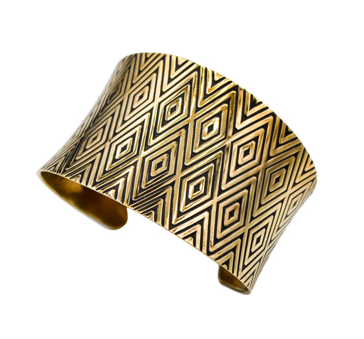 Diamond Design Hand Roller Printed Brass Cuff Bracelet - The Shotridge Collection