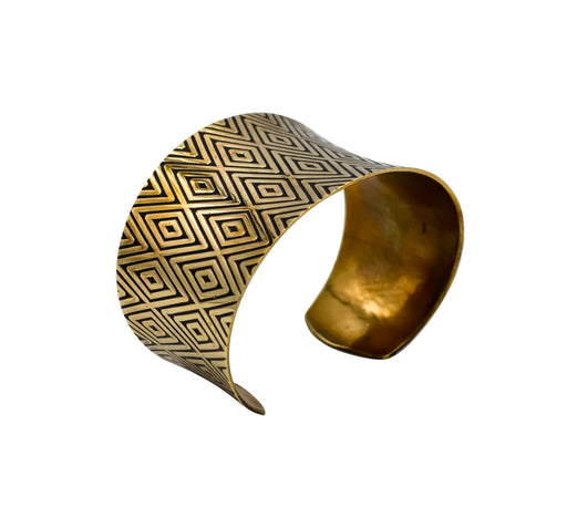 Diamond Hand Roller Printed Brass Cuff Bracelet - Shotridge.com