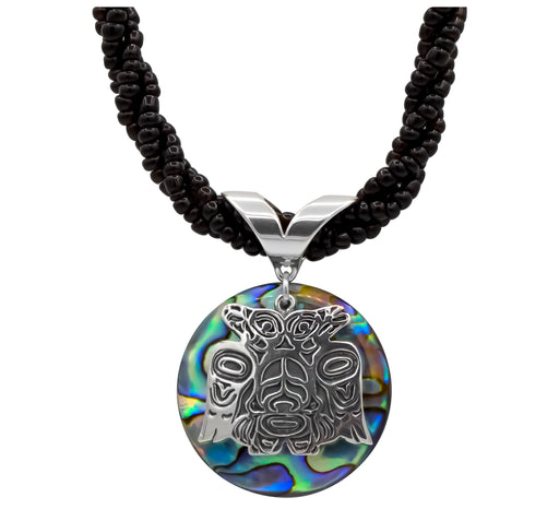 Paua & Sterling Silver Lovebirds with Black Seed Bead Necklace - 1 inch - The Shotridge Collection