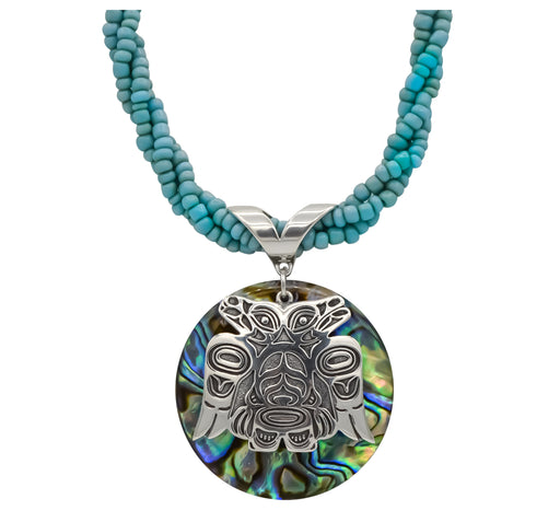 Abalone & Sterling Silver Lovebirds with Turquoise Beaded Necklace - 1 inch - The Shotridge Collection