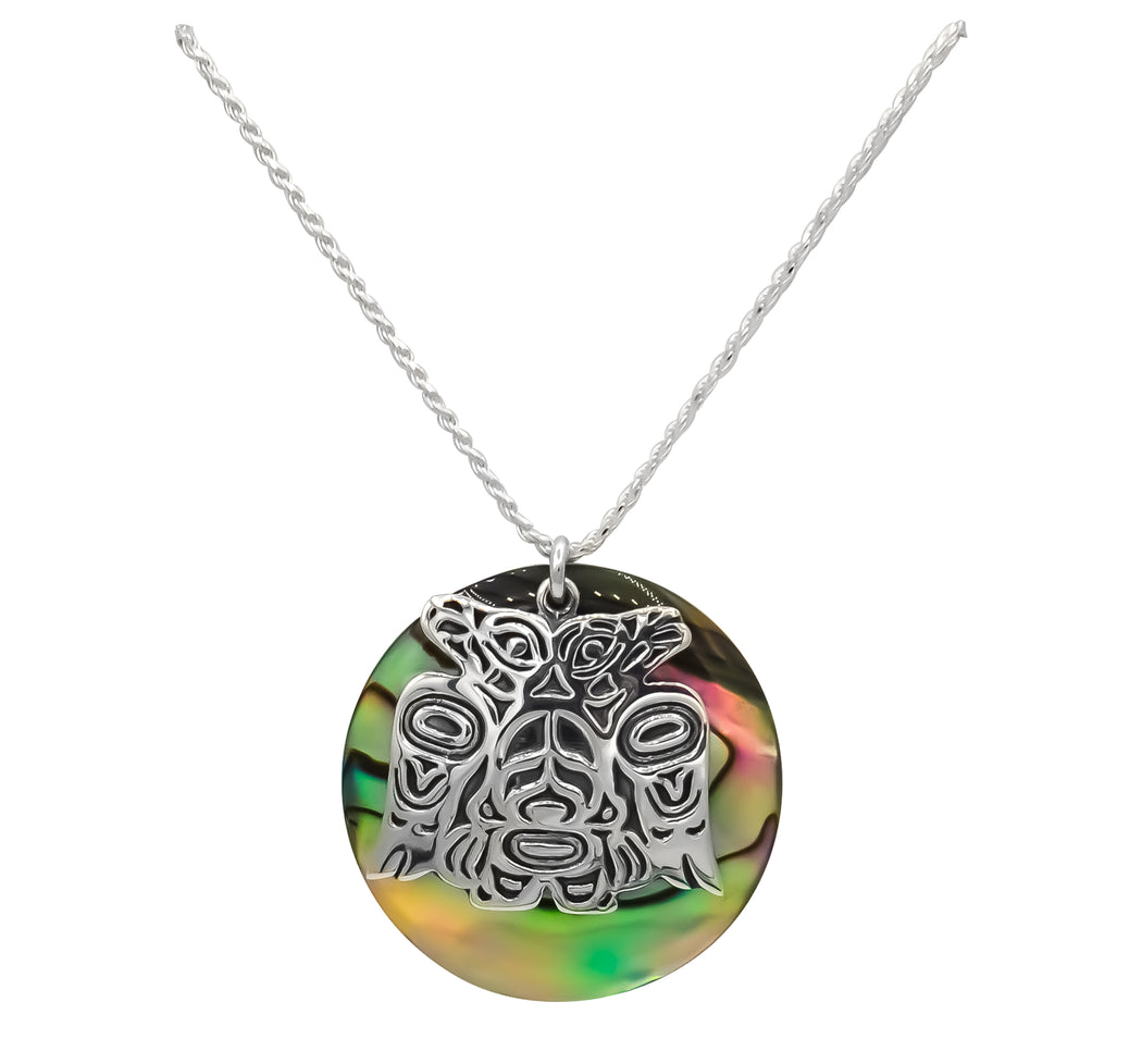Paua & Sterling Silver Lovebirds Necklace - 1 inch - The Shotridge Collection