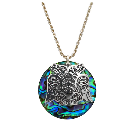 Abalone & Sterling Silver Lovebirds Necklace - 1 1/4 inch - The Shotridge Collection