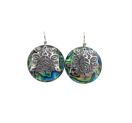 Lovebirds Sterling Silver & Abalone Disc Earrings - 1 inch - The Shotridge Collection