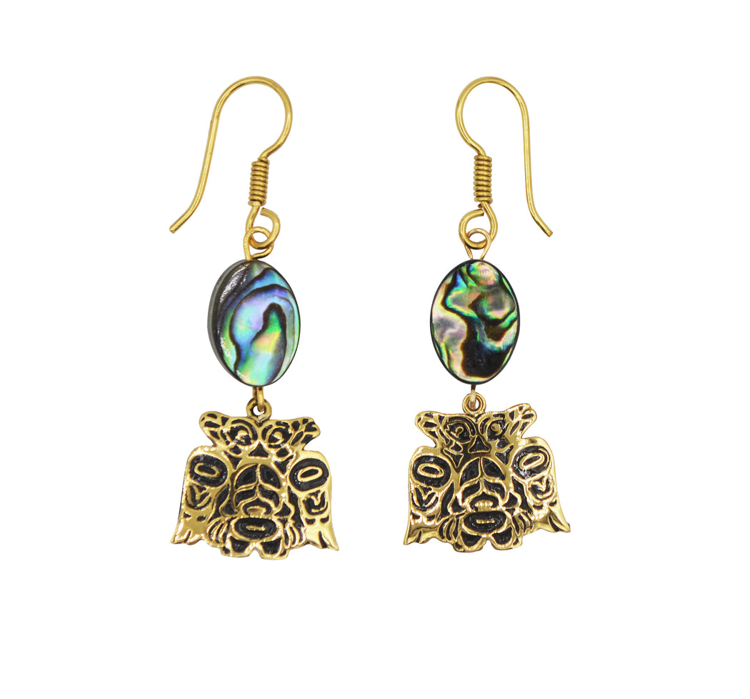 Lovebirds Alchemia Gold & Abalone Shell Dangle Earrings - 3/4 inch - The Shotridge Collection