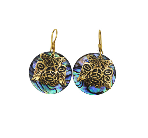 Lovebirds Alchemia Gold & Paua Disc Earrings - 1 inch - The Shotridge Collection