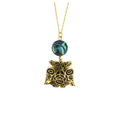 Lovebirds Alchemia Gold & Abalone Necklace - 3/4 inch - The Shotridge Collection