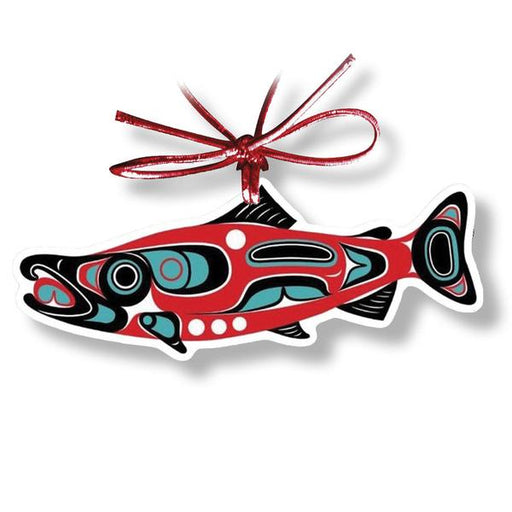 """Northwest Salmon"" Acrylic Ornament - Shotridge.com"