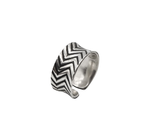 Zig Zag Hand Roller Printed Sterling Silver Ring - The Shotridge Collection