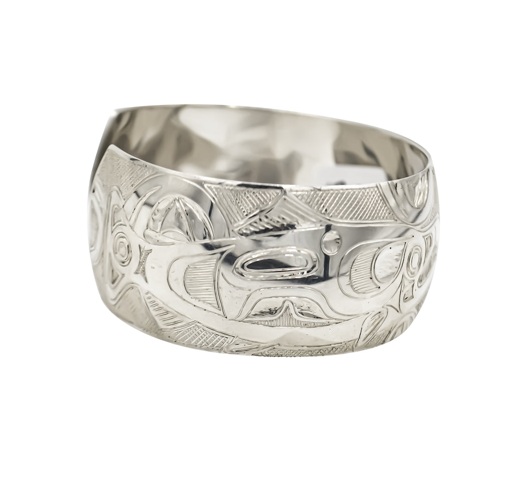 """Salmon"" Hand Engraved Sterling Silver Bracelet - The Shotridge Collection"