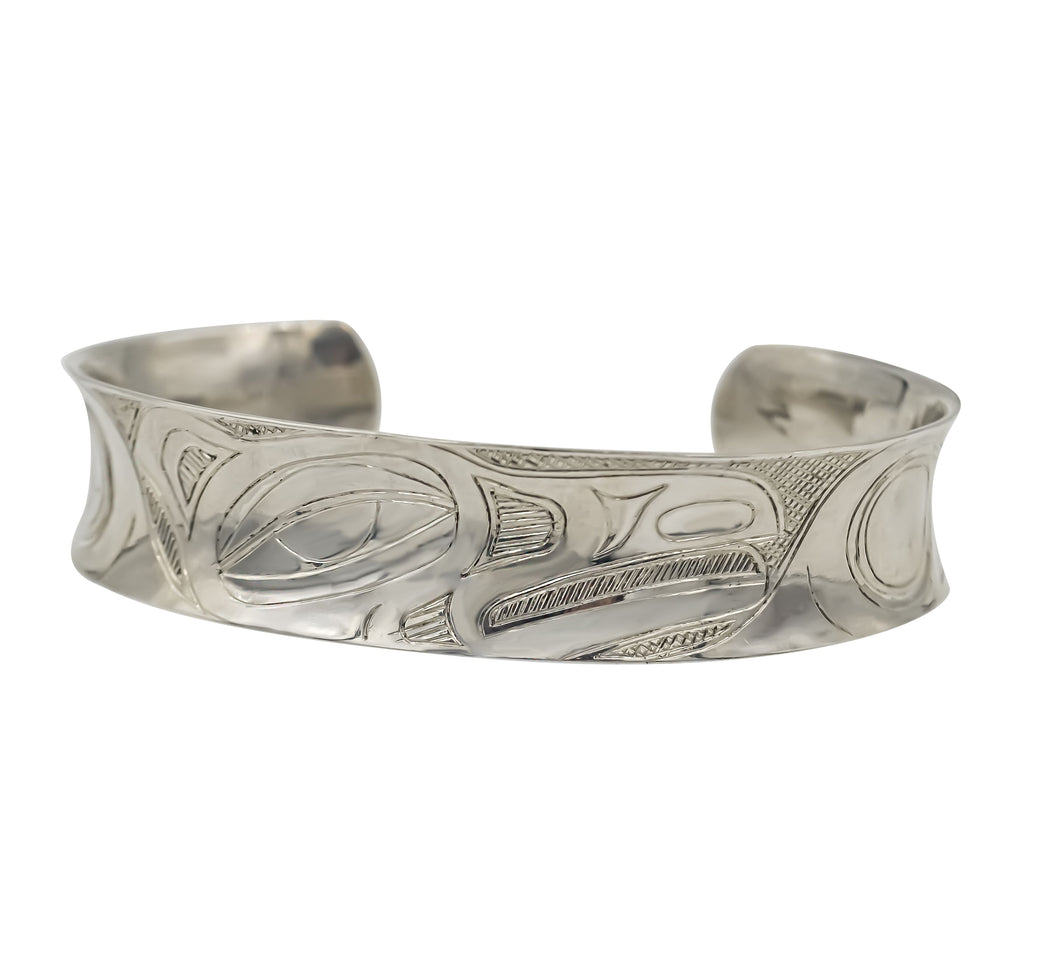 """Raven"" Hand Engraved Sterling Silver Bracelet - The Shotridge Collection"