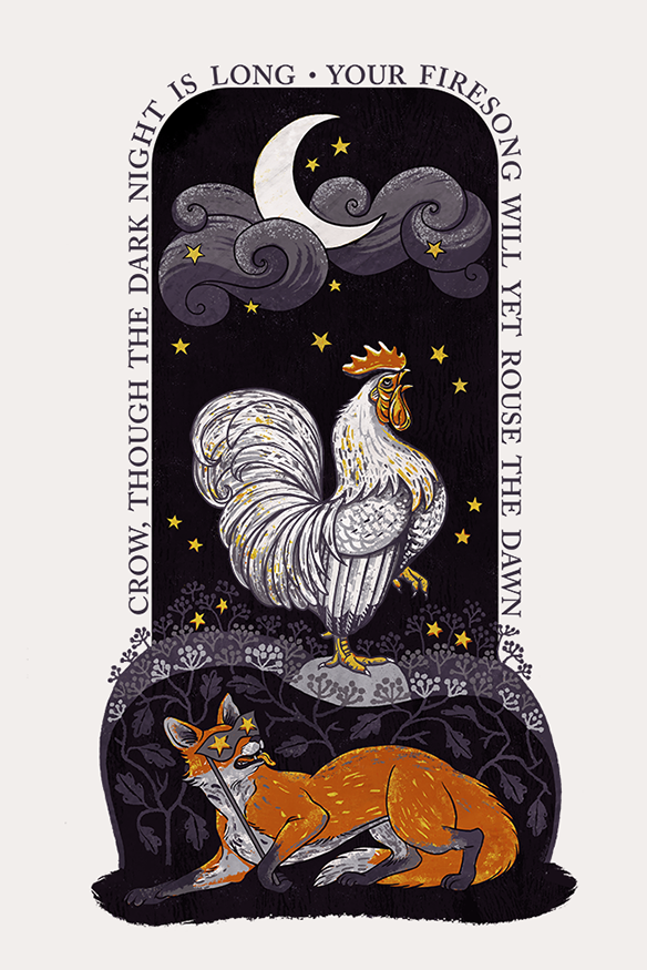 Firesong - Inspirational Rooster Poster by Henny Penny Press