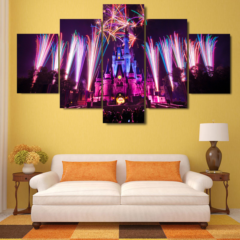 DISNEY WORLD CASTLE - HQ 5-PIECE ART CANVAS PRINT - Arts n Games