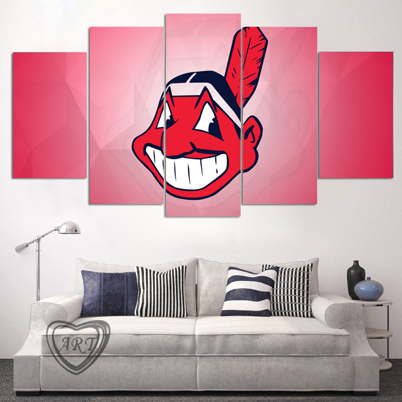 INDIANS FANS - HQ 5-PIECE ART CANVAS PRINT - Arts n Games