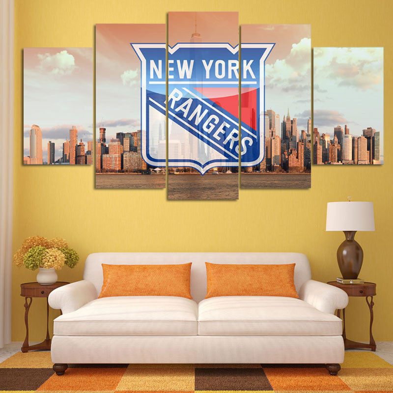 NY RANGERS FANS - HQ 5-PIECE ART CANVAS PRINT - Arts n Games