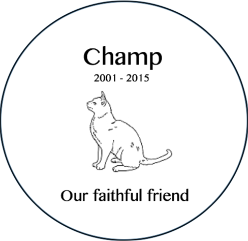 Cat Memorial Plaque - Circle 12""
