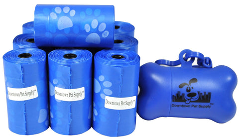 Blue with Paws - Pet Waste Poop Bags + FREE Dispenser