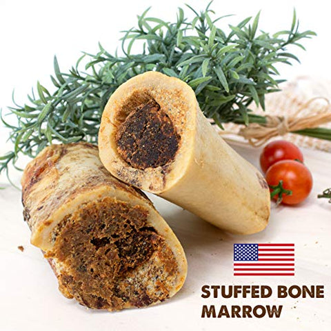 "Stuffed Beef Marrow- Premium 5 Inch USA Dog Bone, Long Lasting Meaty Chew Treat for Dogs, Aggressive Chewers (3"" Stuffed)"