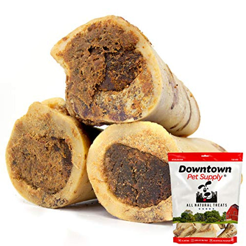 "Premium 5 Inch USA Beef Marrow Stuffed Dog Bone, Long Lasting Meaty Chew Treat for Dogs, Aggressive Chewers (3"" Stuffed)"